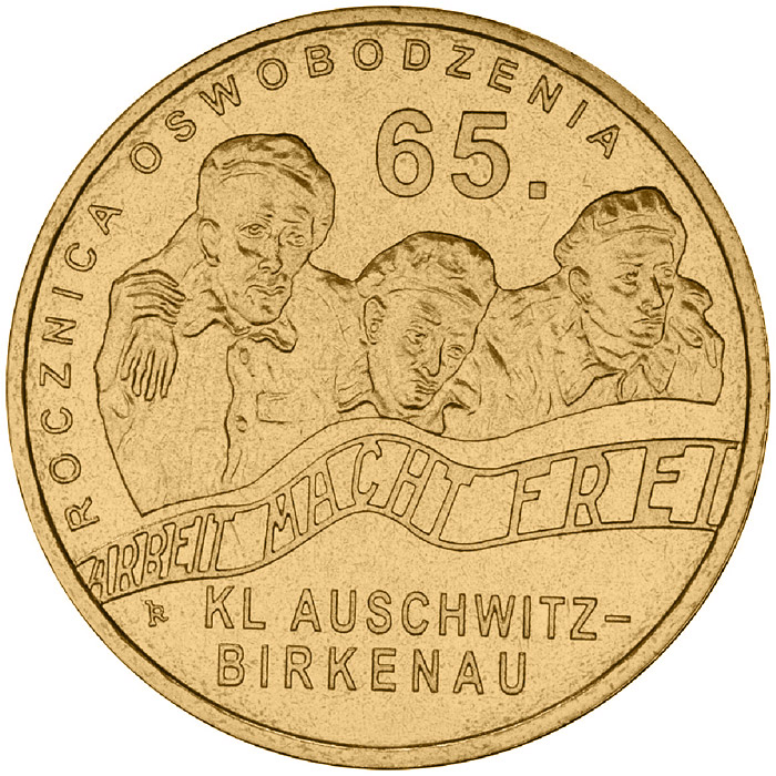 Image of 65th anniversary of liberation of KL Auschwitz-Birkenau  – 2 zloty coin Poland 2010.  The Nordic gold (CuZnAl) coin is of UNC quality.