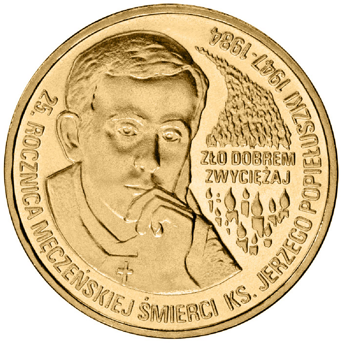 Image of 2 zloty coin - 25th Anniversary of the Death of Father Jerzy Popiełuszko  | Poland 2009.  The Nordic gold (CuZnAl) coin is of UNC quality.