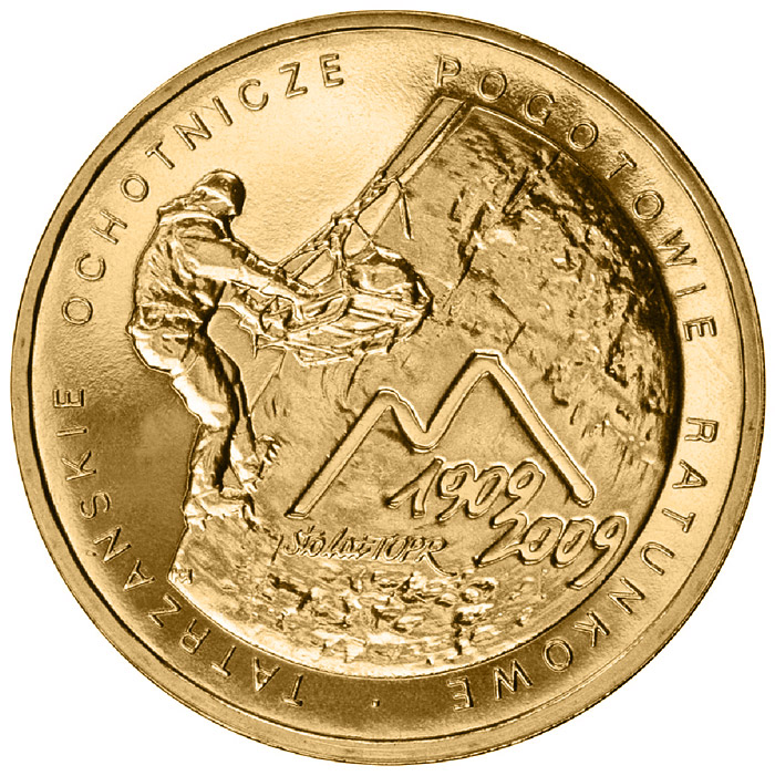 Image of 2 zloty coin - 100th Anniversary of the Establishment of the Voluntary Tatra Mountains Rescue Service  | Poland 2009.  The Nordic gold (CuZnAl) coin is of UNC quality.
