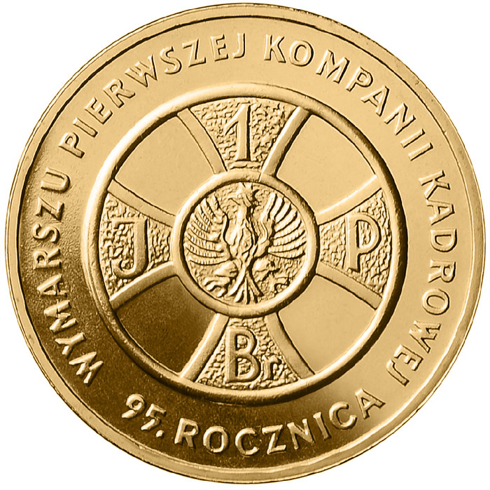 Image of 2 zloty coin – 95th Anniversary of First Cadre Company March Out  | Poland 2009.  The Nordic gold (CuZnAl) coin is of UNC quality.