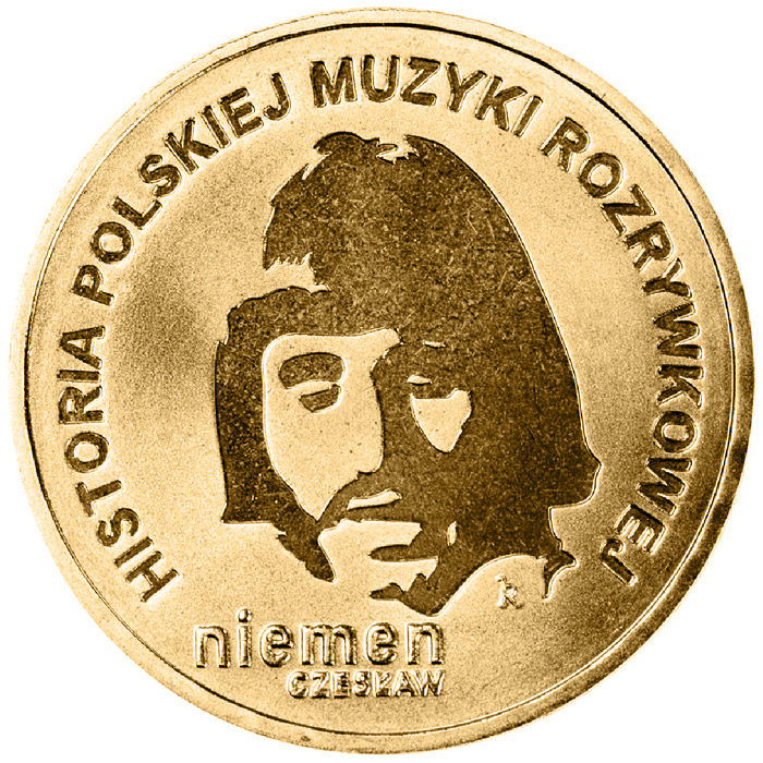 Image of 2 zloty coin - Czesław Niemen  | Poland 2009.  The Nordic gold (CuZnAl) coin is of UNC quality.