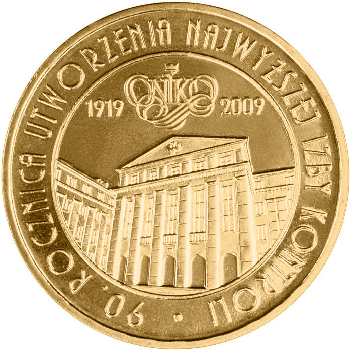 Image of 2 zloty coin - 90th Anniversary of the Establishment of the Supreme Chamber of Control  | Poland 2009.  The Nordic gold (CuZnAl) coin is of UNC quality.