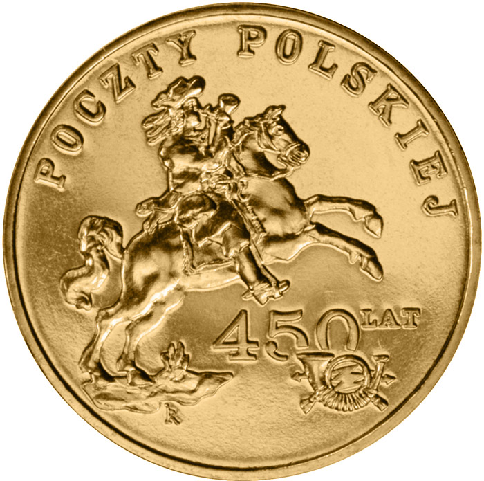 Image of 450 Years of the Polish Postal Service  – 2 zloty coin Poland 2008.  The Nordic gold (CuZnAl) coin is of UNC quality.