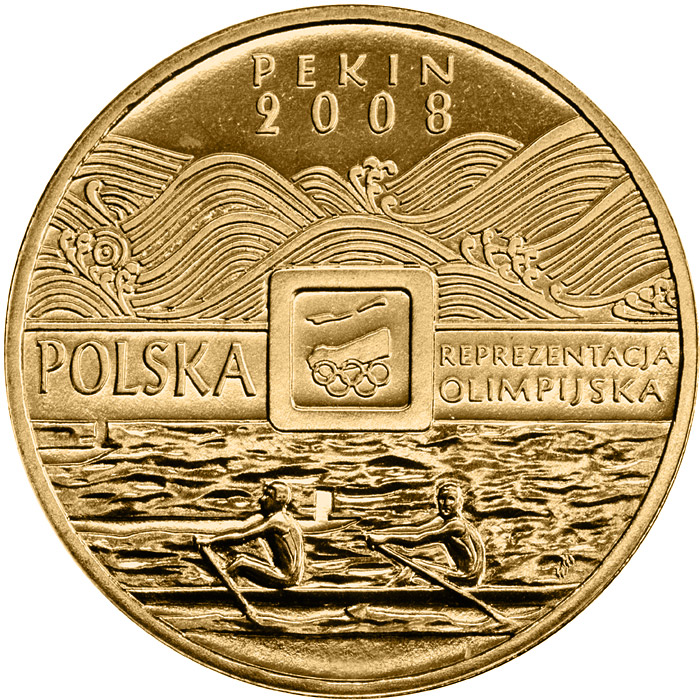Image of 2 zloty coin XXIXth Olimpic Games - Beijing 2008  | Poland 2008.  The Nordic gold (CuZnAl) coin is of UNC quality.