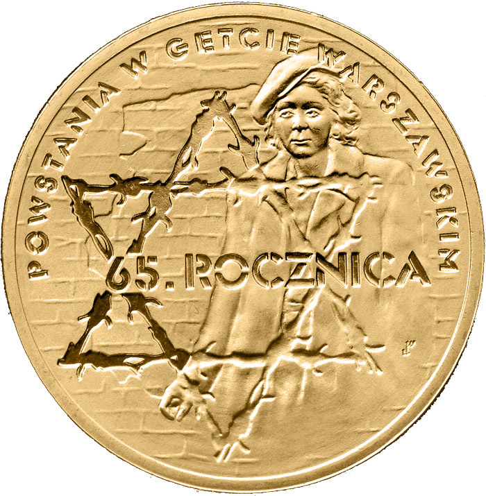 Image of 2 zloty coin - 65th Anniversary of Warsaw Ghetto Uprising  | Poland 2008.  The Nordic gold (CuZnAl) coin is of UNC quality.