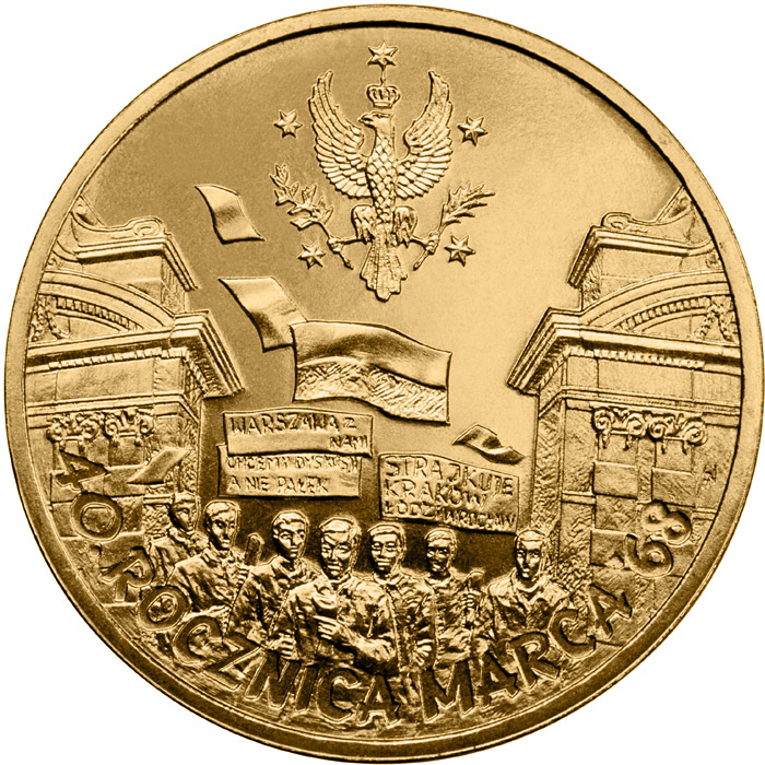 Image of 2 zloty coin – 40th Anniversary of March 1968  | Poland 2008.  The Nordic gold (CuZnAl) coin is of UNC quality.