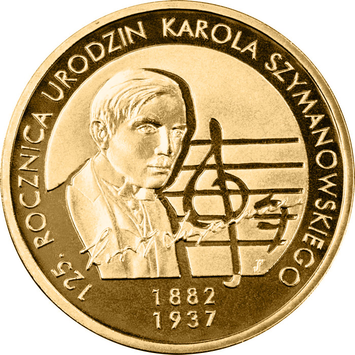 Image of 2 zloty coin - 125th Anniversary of Karol Szymanowski's Birth | Poland 2007.  The Nordic gold (CuZnAl) coin is of UNC quality.