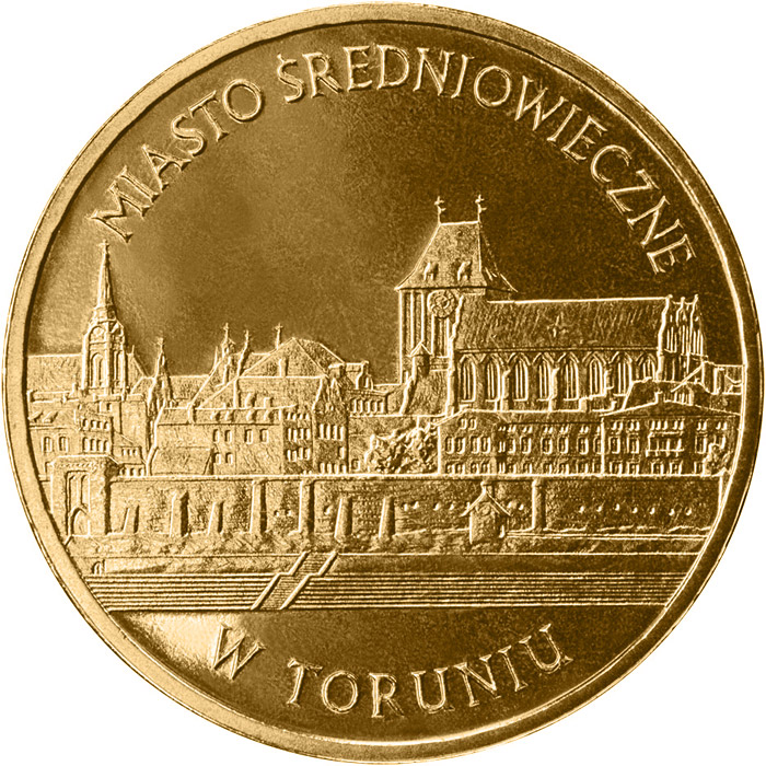 Image of 2 zloty coin - Medieval Town of Toruń  | Poland 2007.  The Nordic gold (CuZnAl) coin is of UNC quality.