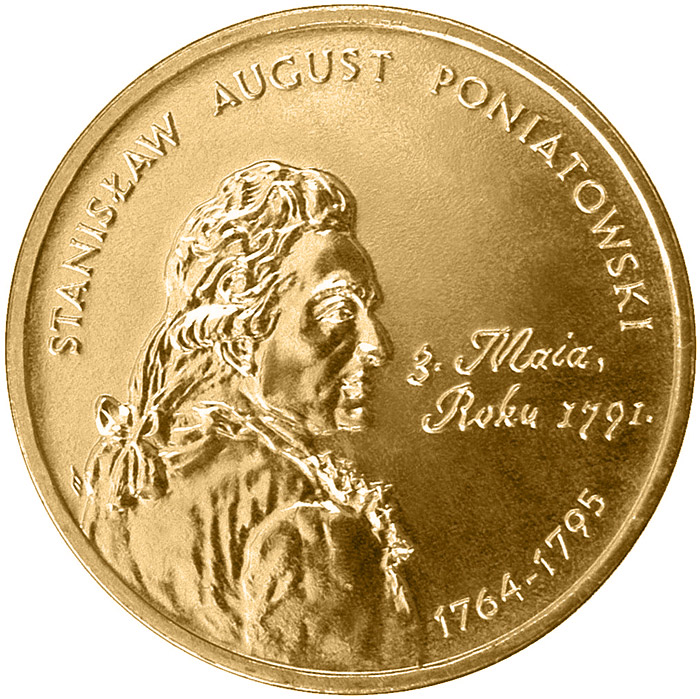Image of 2 zloty coin – Polish Kings and Princes: Stanisław August Poniatowski (1764-1795) | Poland 2005.  The Nordic gold (CuZnAl) coin is of UNC quality.