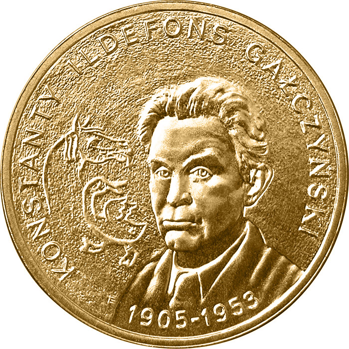 Image of 2 zloty coin – Konstanty Ildefons Gałczyński | Poland 2005.  The Nordic gold (CuZnAl) coin is of UNC quality.