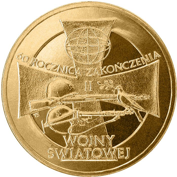 Image of 2 zloty coin - 60th Anniversary of the Ending of World War Two  | Poland 2005.  The Nordic gold (CuZnAl) coin is of UNC quality.