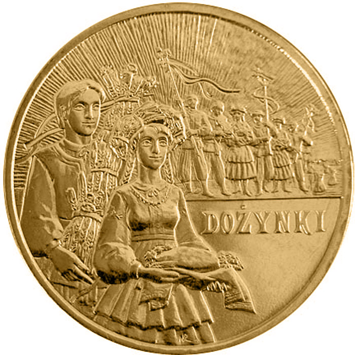 Image of 2 zloty coin - Harvest Festival  | Poland 2004.  The Nordic gold (CuZnAl) coin is of UNC quality.
