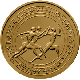 Image of XXVIIIth Olympic Games - Athens 2004  – 2 zloty coin Poland 2004.  The Nordic gold (CuZnAl) coin is of UNC quality.