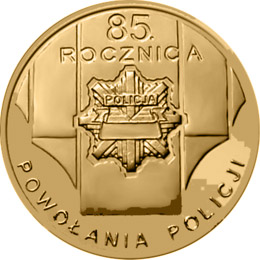 Image of 2 zloty coin - 85 Years of the Police  | Poland 2004.  The Nordic gold (CuZnAl) coin is of UNC quality.