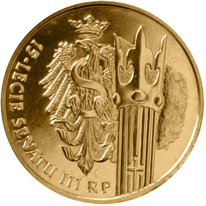 Image of 2 zloty coin - 15 Years of the Senate of the Republic of Poland  | Poland 2004.  The Nordic gold (CuZnAl) coin is of UNC quality.