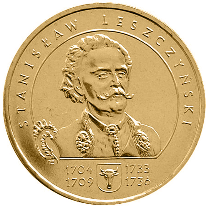 Image of 2 zloty coin – Stanisław Leszczyński  | Poland 2003.  The Nordic gold (CuZnAl) coin is of UNC quality.