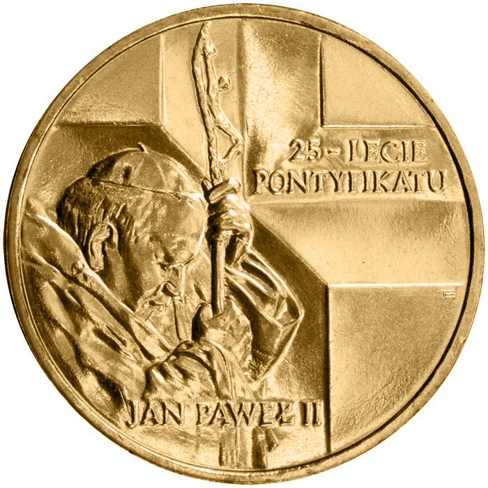 Image of 25 Years of the Pontificate of John Paul II  – 2 zloty coin Poland 2003.  The Nordic gold (CuZnAl) coin is of UNC quality.