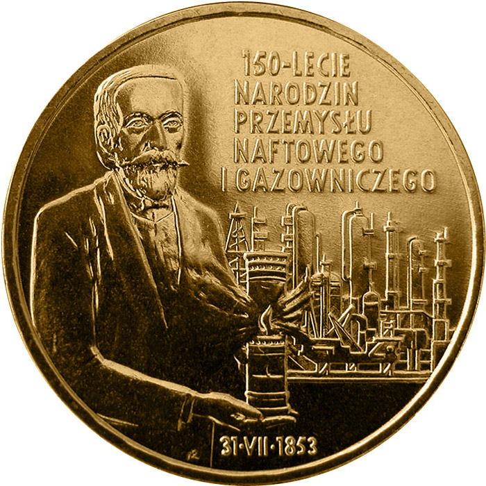 Image of 2 zloty coin - 150th Anniversary of Oil and Gas Industry's Origin  | Poland 2003.  The Nordic gold (CuZnAl) coin is of UNC quality.