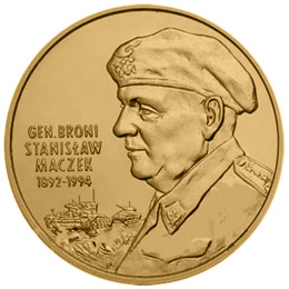 Image of 2 zloty coin - General Stanisław Maczek (1892-1994)  | Poland 2003.  The Nordic gold (CuZnAl) coin is of UNC quality.
