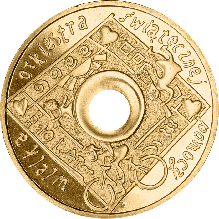 Image of 2 zloty coin - 10 Years of The Great Orchestra of Christmas Charity | Poland 2003.  The Nordic gold (CuZnAl) coin is of UNC quality.