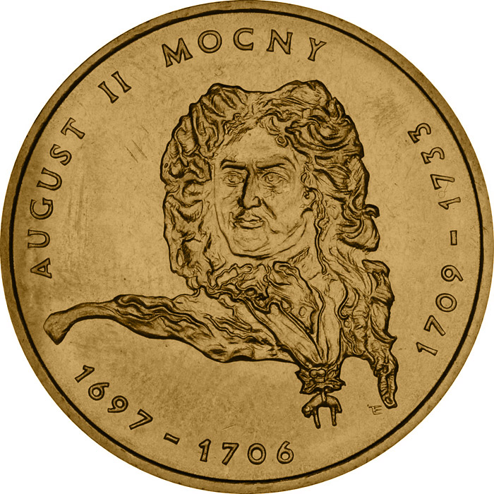 Image of August II the Strong  – 2 zloty coin Poland 2002.  The Nordic gold (CuZnAl) coin is of UNC quality.