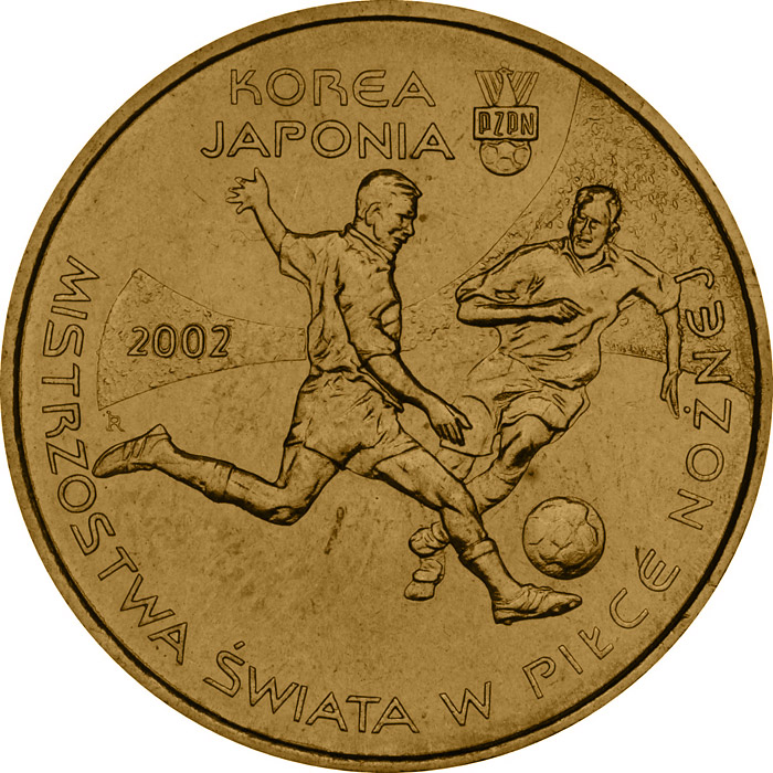 Image of 2 zloty coin - 2002 World Football Cup Korea/Japan  | Poland 2002.  The Nordic gold (CuZnAl) coin is of UNC quality.