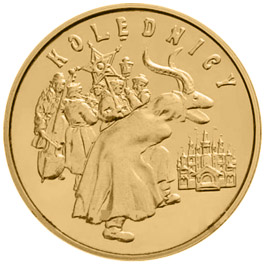 Image of 2 zloty coin - Carolers  | Poland 2001.  The Nordic gold (CuZnAl) coin is of UNC quality.