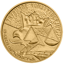 Image of Fifteenth anniversary of the Constitutional Tribunal Decisions  – 2 zloty coin Poland 2001.  The Nordic gold (CuZnAl) coin is of UNC quality.
