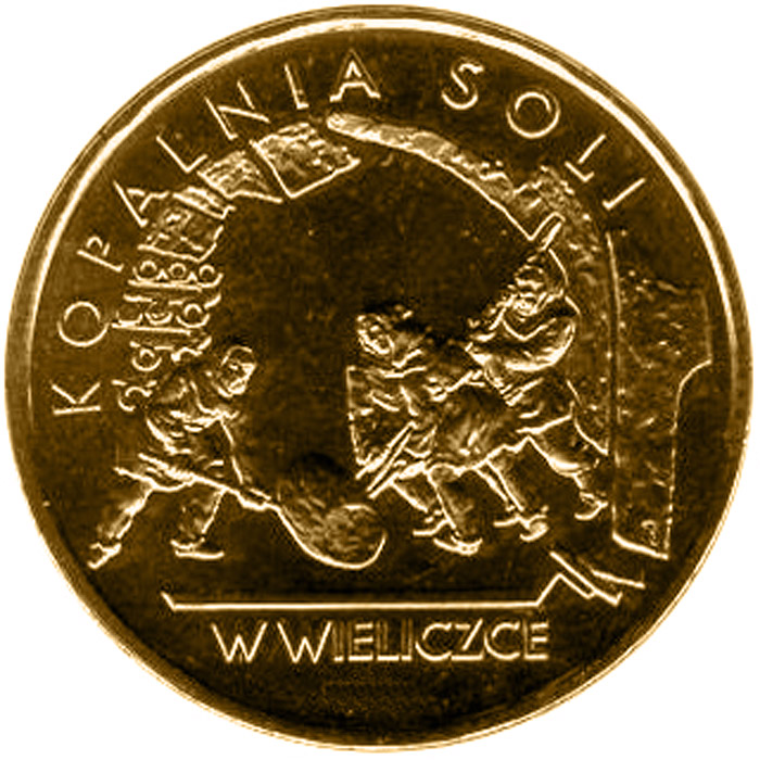 Image of 2 zloty coin – Salt-Mine in Wieliczka  | Poland 2001.  The Nordic gold (CuZnAl) coin is of UNC quality.
