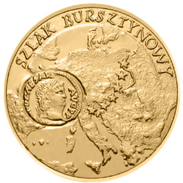 Image of 2 zloty coin – Amber Route  | Poland 2001.  The Nordic gold (CuZnAl) coin is of UNC quality.