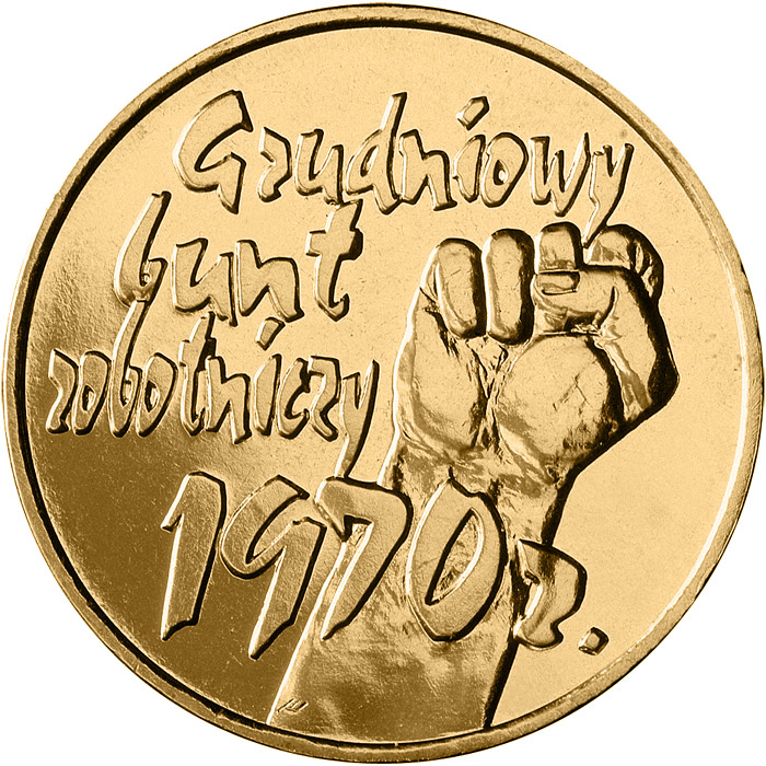 Image of 2 zloty coin - 30th Anniversary of December Events in 1970 | Poland 2000.  The Nordic gold (CuZnAl) coin is of UNC quality.