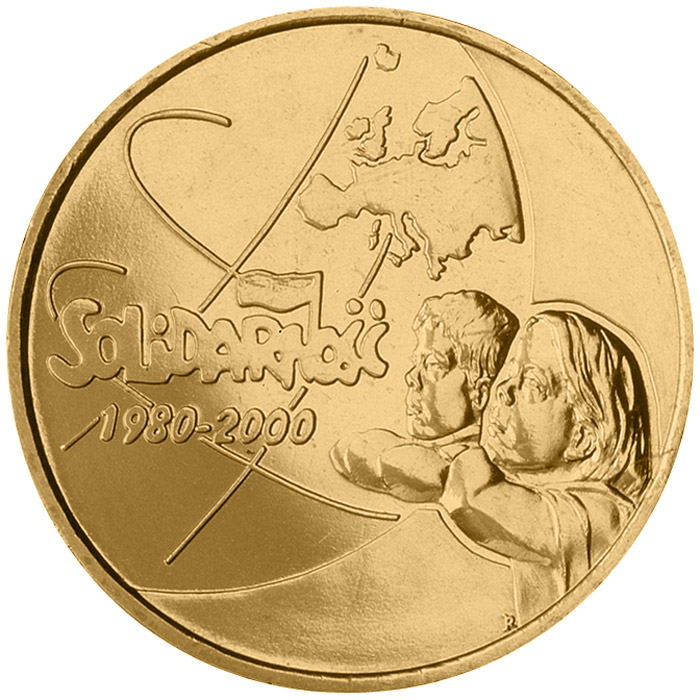 Image of 2 zloty coin - The 20th Anniversary of forming the Solidarity Trade Union  | Poland 2000.  The Nordic gold (CuZnAl) coin is of UNC quality.