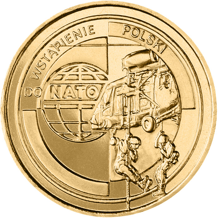 Image of 2 zloty coin - Poland's accession to NATO  | Poland 1999.  The Nordic gold (CuZnAl) coin is of UNC quality.