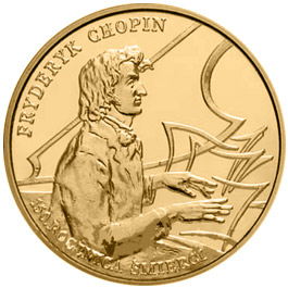 Image of 2 zloty coin 150th anniversary of Fryderyk Chopin's death  | Poland 1999.  The Nordic gold (CuZnAl) coin is of UNC quality.