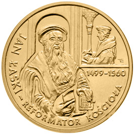 Image of 2 zloty coin - 500th anniversary of birth of Jan Łaski  | Poland 1999.  The Nordic gold (CuZnAl) coin is of UNC quality.