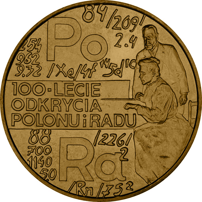 2 zloty | Poland | 100th Anniversary of Discovering Polonium and Radium | 1998