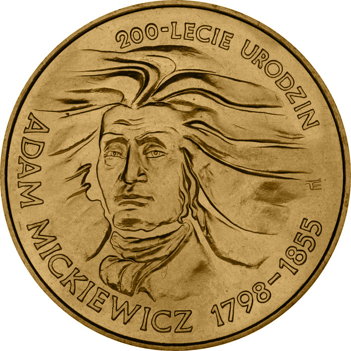 Image of 2 zloty coin - Bicentenary of Adam Miczkiewicz's birth  | Poland 1998.  The Nordic gold (CuZnAl) coin is of UNC quality.