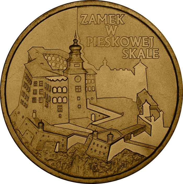 Image of 2 zloty coin – Zamek w Pieskowej Skale  | Poland 1997.  The Nordic gold (CuZnAl) coin is of UNC quality.