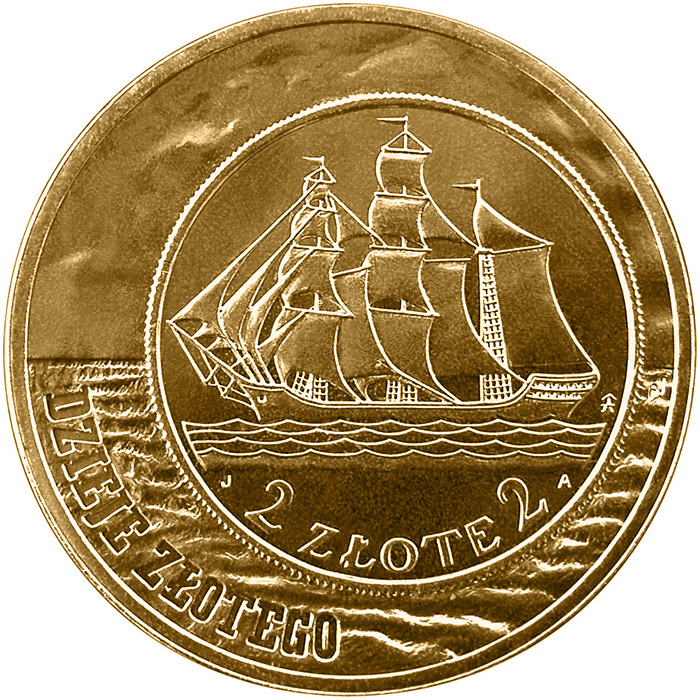 Image of 2 zloty coin - Sailing Vessel - 2 zloty and 5 zloty of 1936 issue  | Poland 2005.  The Nordic gold (CuZnAl) coin is of UNC quality.