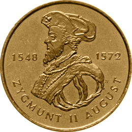 Image of 2 zloty coin – Zygmunt II August | Poland 1996.  The Nordic gold (CuZnAl) coin is of UNC quality.