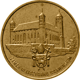 Image of 2 zloty coin - Castle in Lidzbark Warmiński | Poland 1996.  The Nordic gold (CuZnAl) coin is of UNC quality.