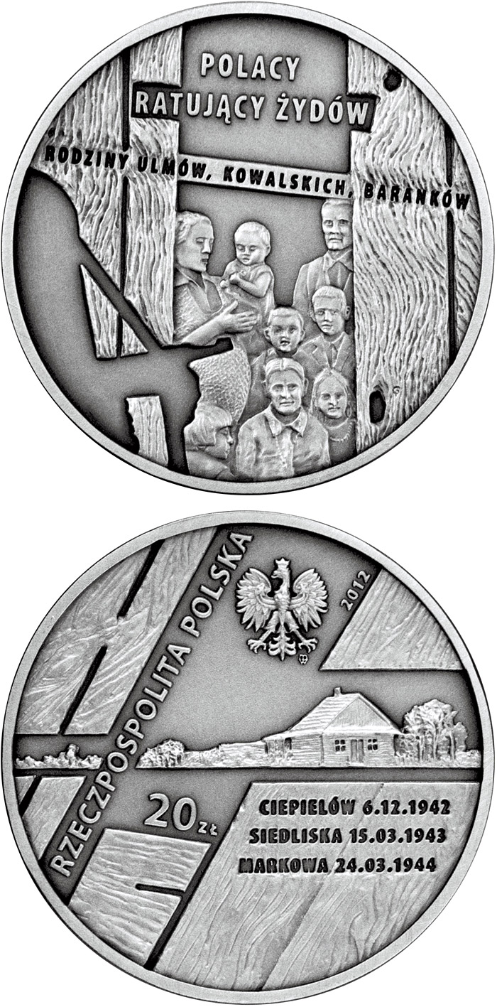 Image of 20 zloty coin - The Ulma, Baranek and Kowalski Families | Poland 2012.  The Silver coin is of Proof quality.