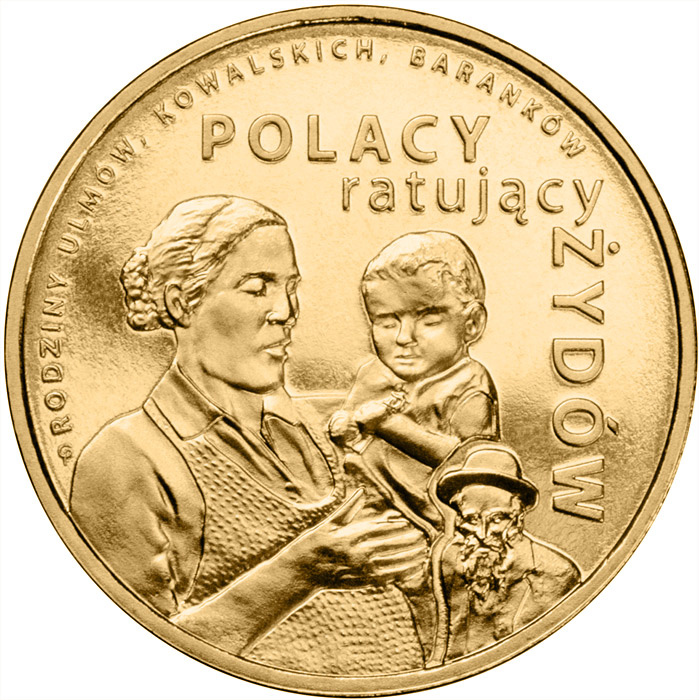 Image of 2 zloty coin The Ulma, Baranek and Kowalski Families | Poland 2012.  The Nordic gold (CuZnAl) coin is of UNC quality.
