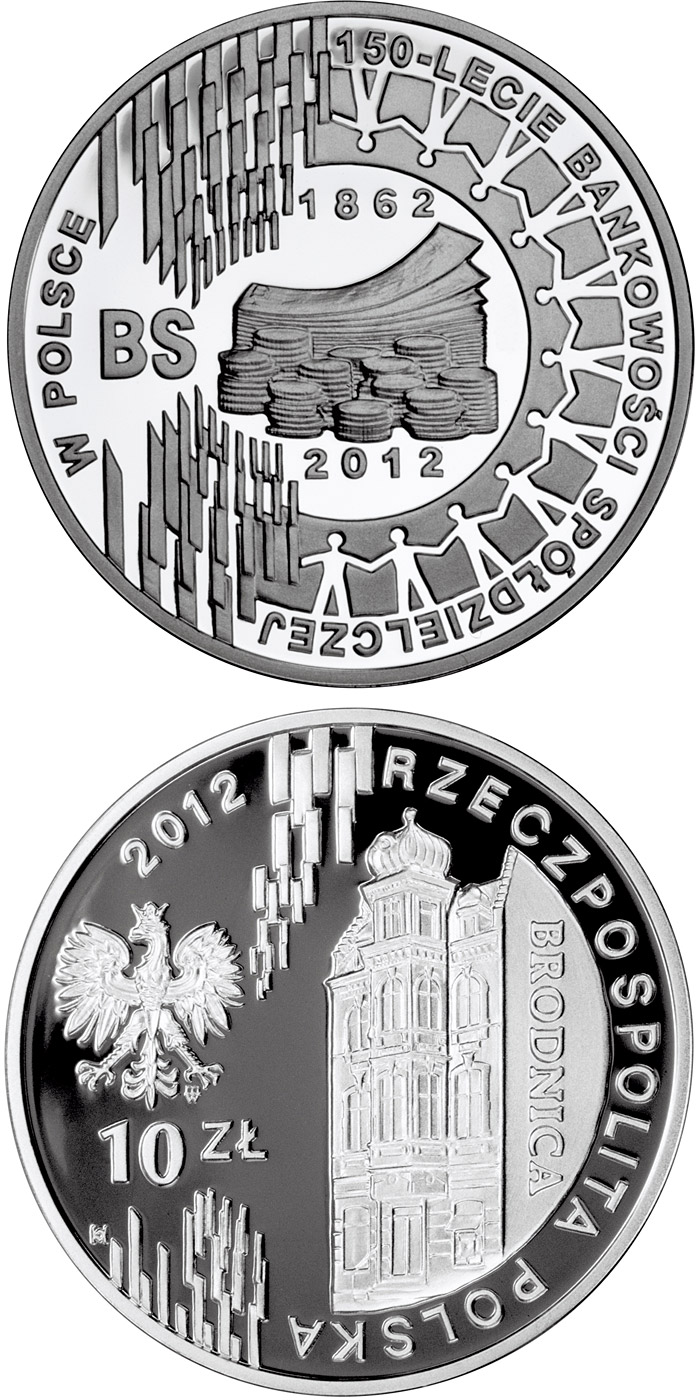 Image of 10 zloty coin - 150 Years of Cooperative Banking in Poland | Poland 2012.  The Silver coin is of Proof quality.