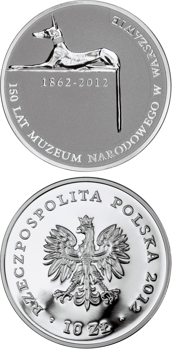 Image of 10 zloty coin - 150 Years of the National Museum in Warsaw | Poland 2012.  The Silver coin is of Proof quality.