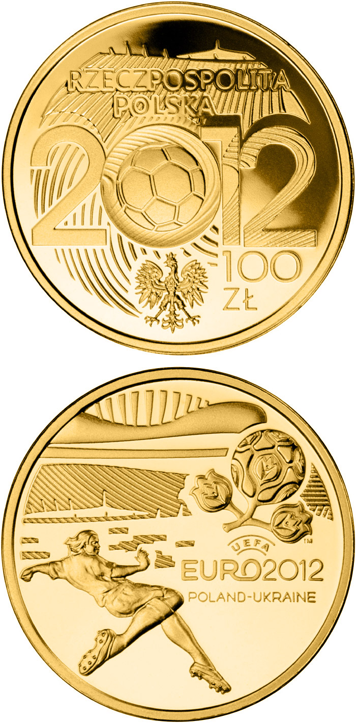 Image of UEFA EURO 2012 – 100 zloty coin Poland 2012.  The Gold coin is of Proof quality.