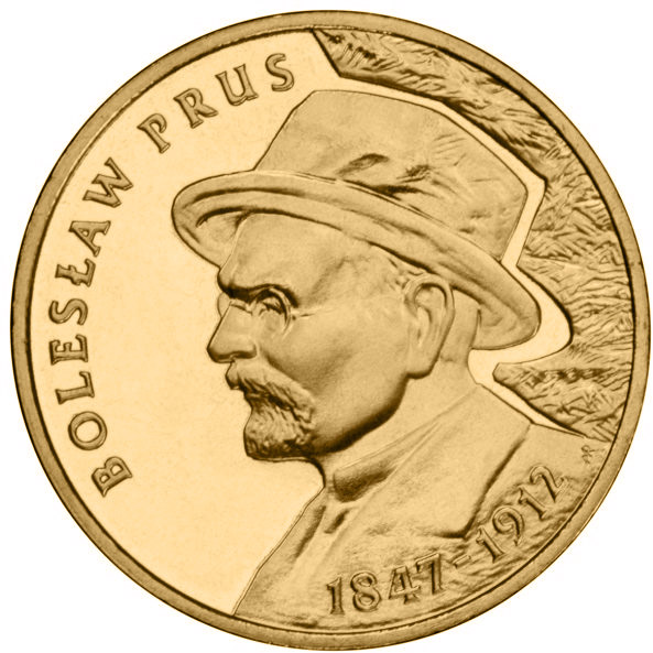 Image of Bolesław Prus – 2 zloty coin Poland 2012.  The Nordic gold (CuZnAl) coin is of UNC quality.
