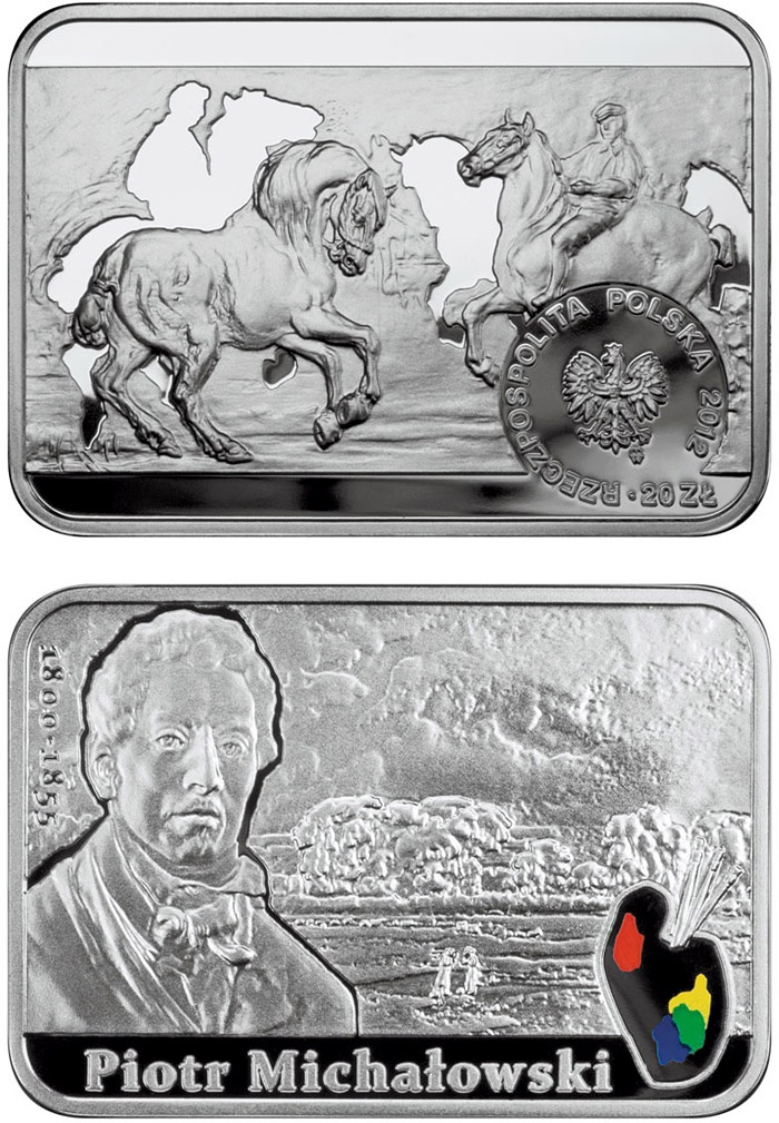Image of 20 zloty coin - Piotr Michałowski | Poland 2012.  The Silver coin is of Proof quality.