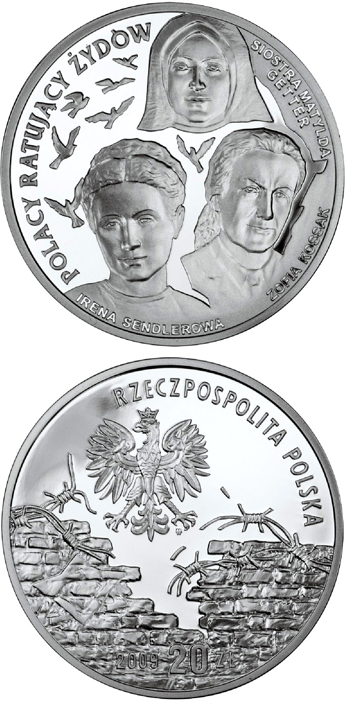 Image of 20 zloty coin - Irena Sendlerowa, Zofia Kossak-Szczucka and Sister Matylda Getter | Poland 2009.  The Silver coin is of Proof quality.
