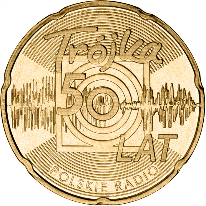Image of 2 zloty coin – 50 Years of the Third Programme of the Polish Radio | Poland 2012.  The Nordic gold (CuZnAl) coin is of UNC quality.